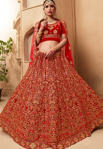 Red Velvet Bridal Lehenga Choli - 10007