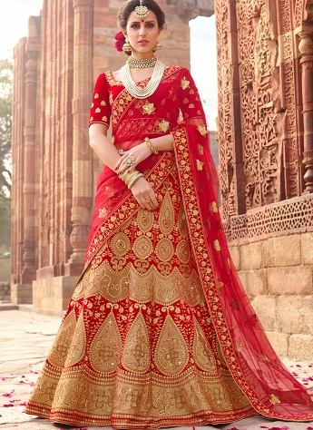 Red Velvet A-line Embroidered Lehenga Choli - 1002