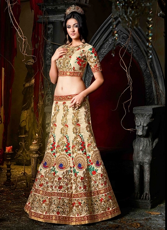 Flamboyant Cream Silk Wedding Wear Designer Lehenga Choli