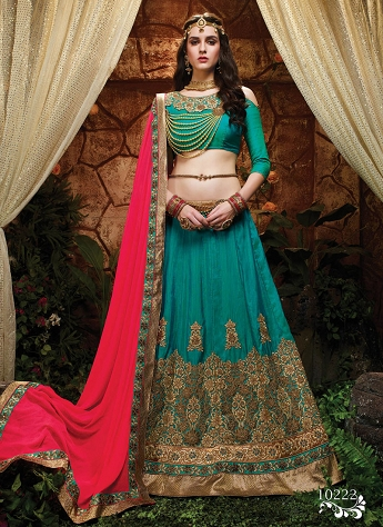 Refreshing Green Silk Wedding Wear A line Lehenga Choli