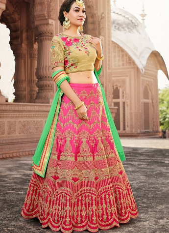 Beauteous Beige & Pink Silk Embroidered A-line Lehenga Choli - 33