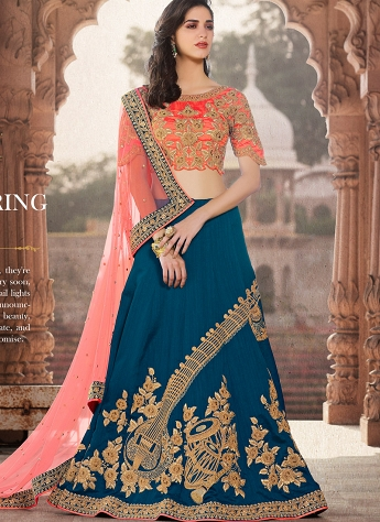 Peach & Teal Crepe Silk Embroidered A-line Lehenga Choli - 40