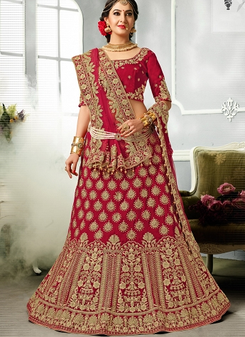 Beauteous Red Velvet A-line Bridal Lehenga Choli - 44225