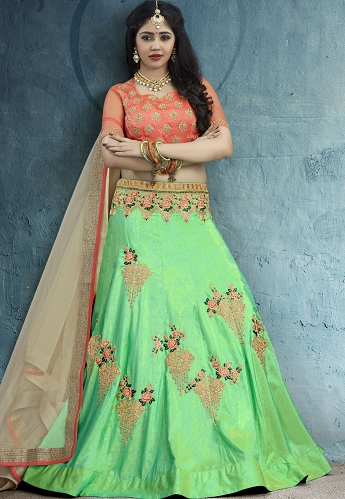 Two Tone Green Silk Circular Lehenga Choli - 46