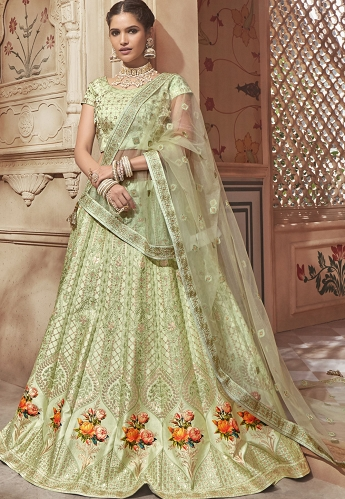 Light Green Satin A-line Lehenga Choli - 4602