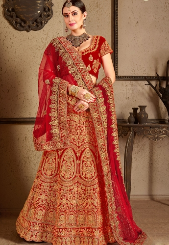 Red Velvet Bridal Lehenga Choli - 8005
