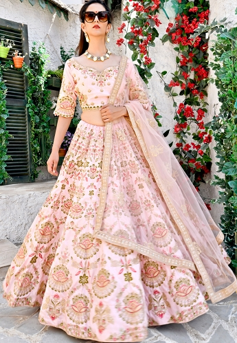 Pink Shade Satin Embroidered A line Lehenga Choli - 9997