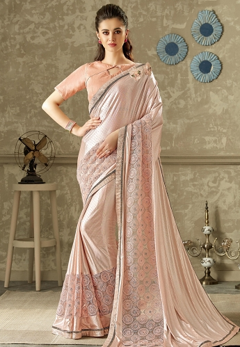 Pink Embroidered Lycra Net Saree with Raw Silk Blouse - 10703