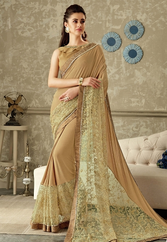 Beige Embroidered Lycra Saree with Dupion Silk Blouse - 10709