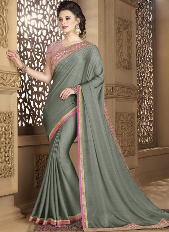 Grey Chiffon Lace Embroidered Designer Saree - 12014