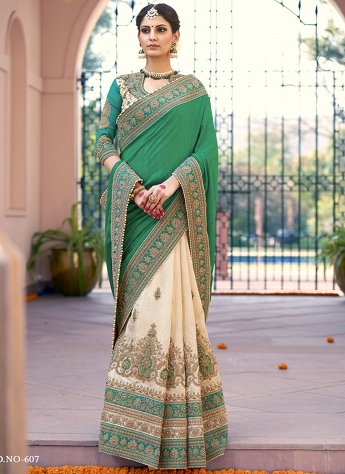 Impeccable Green & Beige Bhagalpuri Silk Half N Half Saree