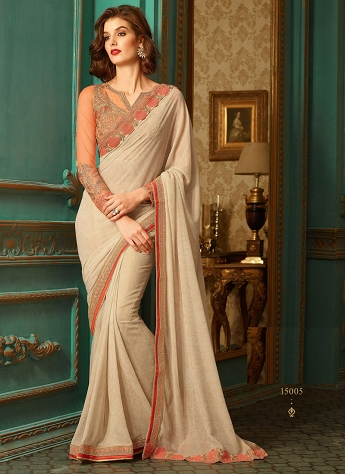 Gilded Resham Work Beige Color Party Wear Saree