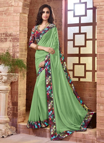 Innovative Green And Beige Faux Georgette Contemporary Saree