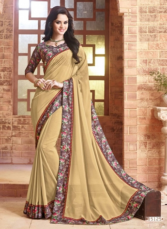 Faux Georgette Beige Lace Trendy Saree
