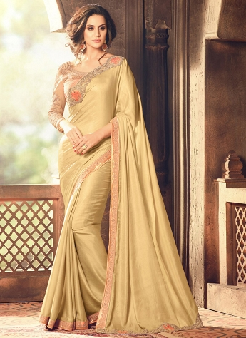 Lace Art Silk Designer Traditional Saree In Gold