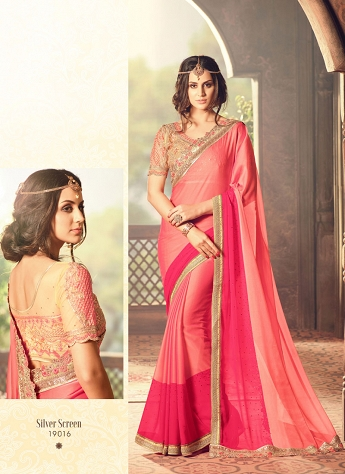 Bedazzling Lace Work Peach And Pink Art Silk Shaded Saree