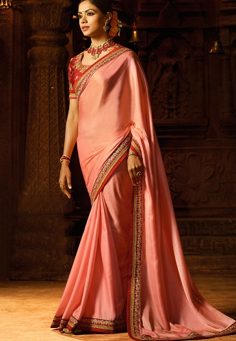 Peach Satin Party wear Saree - 2120