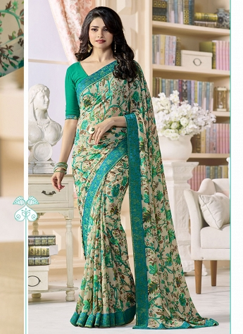 Prachi Desai Beige & Green Printed Georgette Bollywood Saree