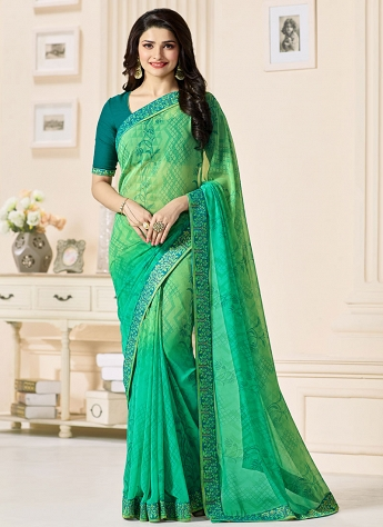 Prachi Desai Green & Blue Printed Georgette Bollywood Saree