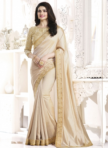 Prachi Desai Cream Silky Satin Bollywood Saree