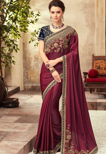 Wine & Blue Satin Georgette Party Wear Saree With Border - 22003