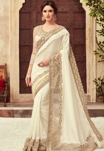Off White Satin Georgette Party Wear Saree With Border - 22009