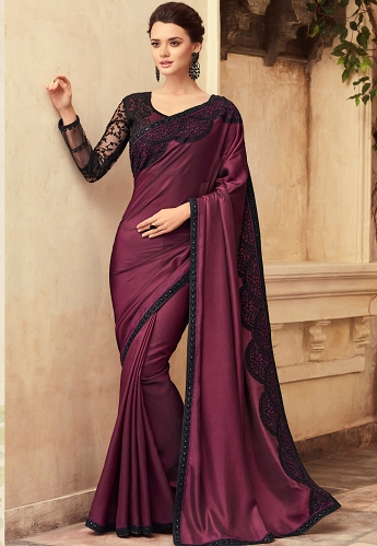 Purple Satin Georgette Party Wear Saree With Border - 22011