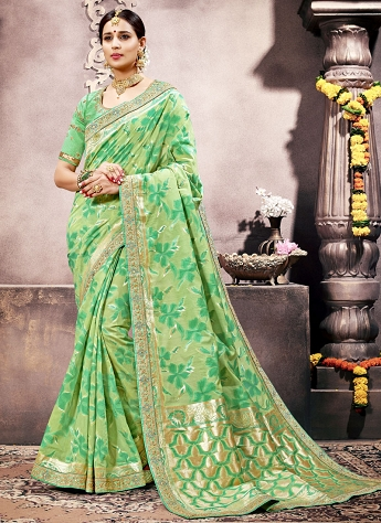 Specialised Green Embroidered Silk Traditional Saree
