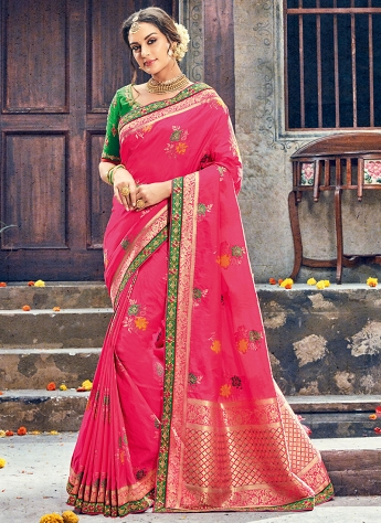Pink & Green Embroidered Wedding Saree