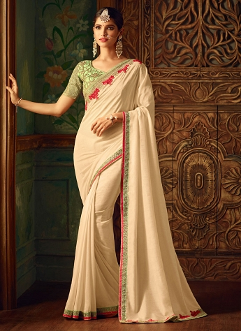 Voguish Georgette Cream Embroidered Saree