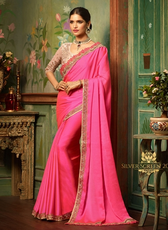 Pink Silk Satan Embroidered Designer Saree