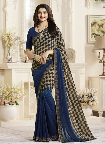 Prachi Desai Exceeding Blue Chiffon Casual Wear Print Saree