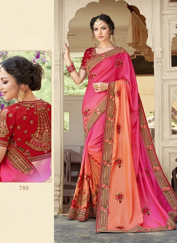 Heavenly Patch Border Work Multi Color Fancy Fabric Shaded Saree