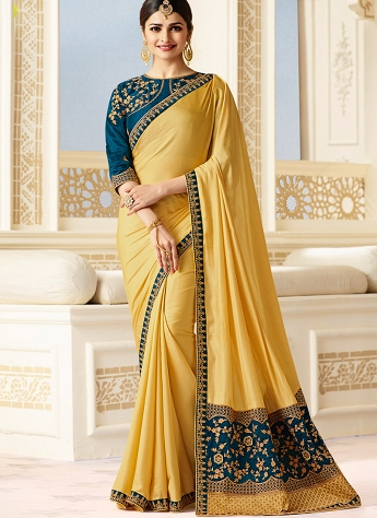 Prachi Desai Cream & Blue Sparkle Silk Embroidered Saree