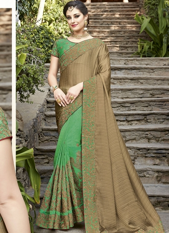 Green & Beige Patch Border Half N Half Saree  - 30006