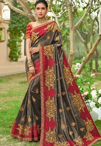 Mouse Grey Heavy Embroidered Georgette Silk Wedding Saree - 3025