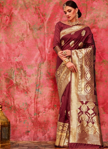 Amazing Maroon Kumud Silk Weaving & Zari Work Saree - 35001