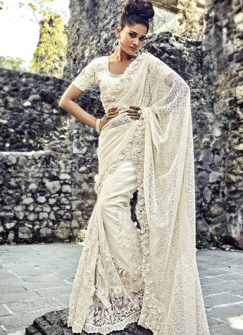Off White Net & Silk Designer Party Wear Saree - 4311