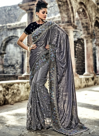 Grey Velvet & Net Embroidered Patch Border Work Saree - 4312