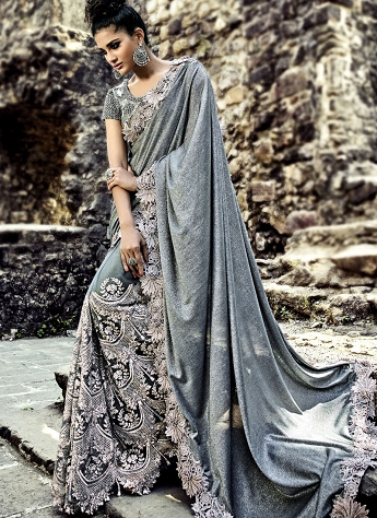 Grey Net Designer Saree - 4316