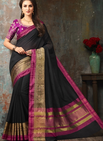 Delightful Black Handloom Silk Party wear Saree - 5008