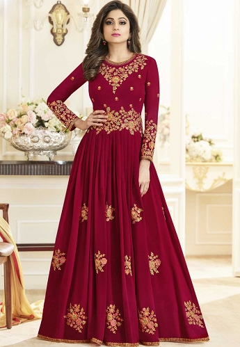 Shamita Shetty Magenta Georgette Floor Length Anarkali Suit - 10003