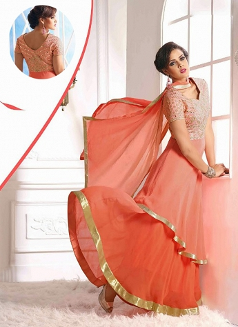 Innovative Peach Georgette Designer Layered Suit