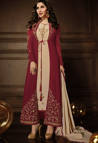 Sophie Choudry Maroon Georgette Long Anarkali Suit with Jacket - 10080
