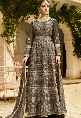 Green Shade Silk Embroidered Anarkali Suit - 103