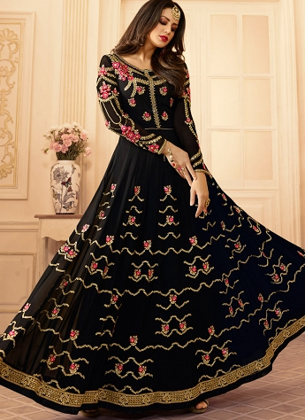 Black Georgette Embroidered Flairy Anarkali Suit - 107