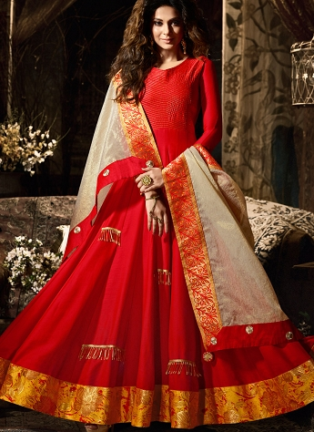 Jennifer Winget Red Satin Ankle Length Anarkali Suit - 11021