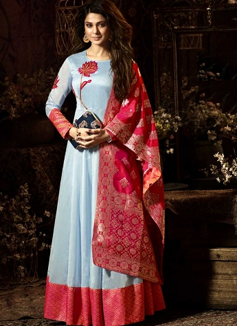 Jennifer Winget Sky Blue Silk Chanderi Long Anarkali Suit - 11024
