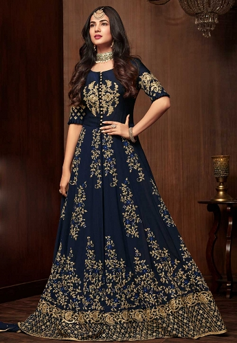 Sonal Chauhan Navy Blue Georgette Floor Length Anarkali Suit - 1107