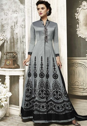 Grey Tafeta Silk Front Slit Embroidered Anarkali Suit - 111